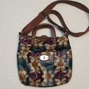Fossil green, red, tan floral print crossbody bag
